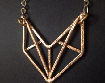 Bronze Pendant - Art Deco Revival Necklace -  Mini Truss - handmade bronze jewelry- handmade in Austin, Tx