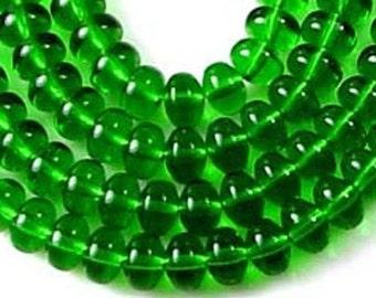 100 Czech Glass Puffed Rondelle - Emerald 4x3mm (C095)