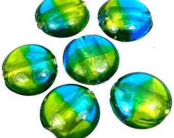 Lampwork Handmade Glass Beads Silver Foil Sea Green Blue Lentil (6) (L1180)