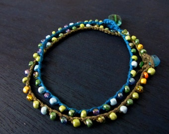 Aqua Anklet, Crochet beaded Anklet, Colorful summer beach style, Two ankle bracelets