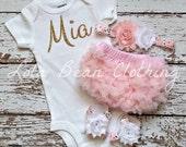 Baby Girl Take Home Outfit Newborn Baby Girl Custom Bodysuit Bloomers Headband Sandals Set White Baby Pink