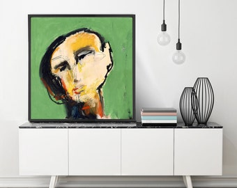 Square Large Wall Art, Portrait Art Print, Face Art, Abstract Modern Art