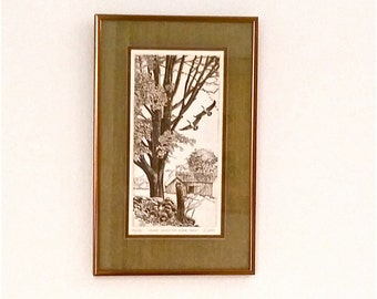 "Vintage Ryland Loos Etching, Signed and Numbered, ""Canada Geese and Sugar Maples"""