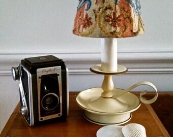 Antique Cream Enamel lamp, cottage decor, accent lighting