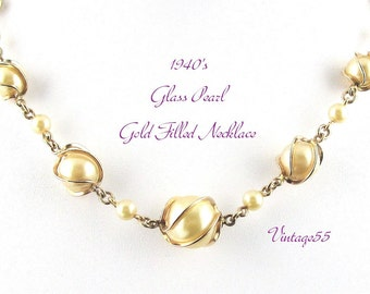 Vintage Necklace Glass Pearl Caged Gold Filled