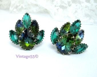 Earrings Rhinestone Green Blue Givre clip on
