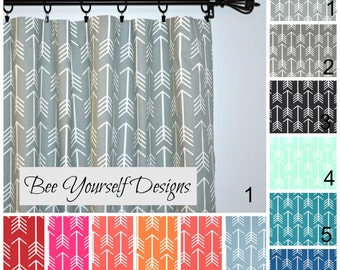 Arrow Curtains, Pair of Rod Pocket Panels - Premier Prints Arrow Aztec Tribal Tribe Archery  - Choose Color and Size