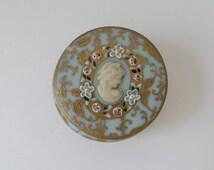 Vintage Miniature Porcelain Dresser Box Turquoise Blue Cameo Enamel Flowers