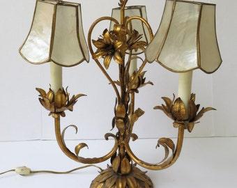 Vintage Italian Gold Metal Tole Three Light Candelabra w/Handmade Shades