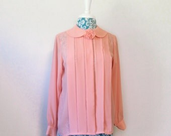 vintage 1980s blouse // pink rosette accent // puff sleeve peter pan collar 80s