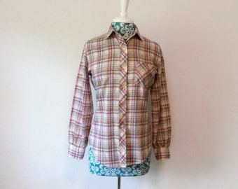 vintage plaid blouse // 1970s purple mint green // feminine preppy weekend shirt