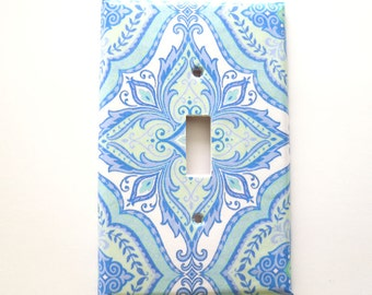 Paisley Floral Switchplate Cover, Light Switch Cover Single, Triple Switchplate, Double switchplate, Blue Soft Mint