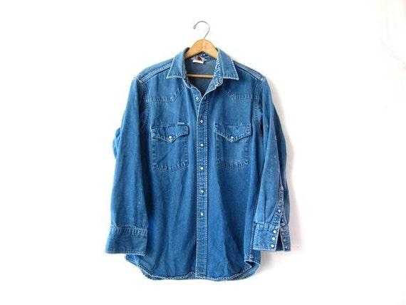 vintage destroyed denim shirt rugged boyfriend chore work