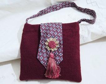 Shoulder  Bag Necktie Kindle Tablet School Fun Repurposed Neck ties on SaLe now