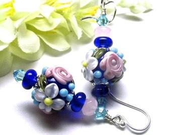 Flower Earrings Blue Earrings Lampwork Earrings Floral Earrings Round Bead Earrings Glass Earrings Artisan Earrings Spring Earrings