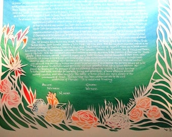 Tropical Flowers beneath Palm Tree - Multilayer Papercut ketubah - calligraphy