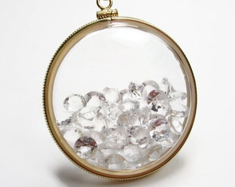 Be Brilliant Locket Collection - Large 12K Gold Fill Locket - Clear CZ Stones Layer - Double Sided Clear Keepsake Pendant Necklace