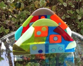 Napkin Holder in Multi-colored Fused Glass