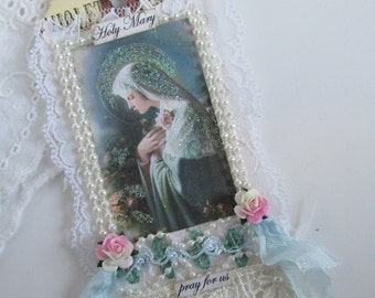 Virgin Mary Gift Tag Art Tag Catholic Gift Religious Card Mothers Day Card