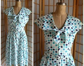 50s blue / white polka dot party dress with matching belt womens size large
