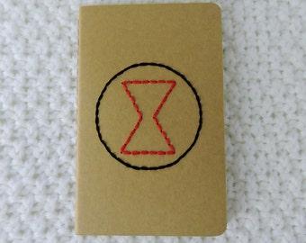 Black Widow Hand Embroidered Moleskine Notebook