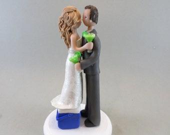 Short Bride on a Cooler & Tall Groom with Margaritas Custom Wedding Cake Topper