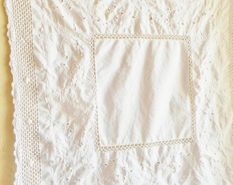 Vintage Linen White Embroidered Tablecloth with Cutwork Large Square Table Cloth Embroidery