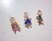 14k Gold Kid Charms - Brats Series - Birthday Stones - Set of Three - Solid Gold.
