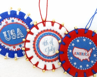 3 Wool Felt July 4th / Patriotic Ornaments with Gold Beading - 2.25""