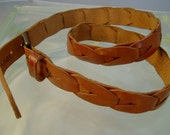 Womens Vintage Omega Tan Leather Braided Belt~Size Medium to Large~Made in Turkey