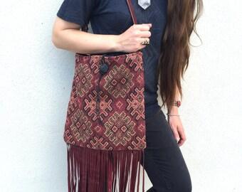 handmade bag vintage bag Up-cycled bag Burgundy bag Southwestern bag Boho bag Woven bag tapestry bag Carpet Bag fringe bag Festival Purse