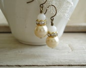 Beaded Earrings. Vintage Assemblage Earrings. Old Milk Glass and Pearl Earrings Published in Jewelry Affaire Magazine. PreciousPastimes.