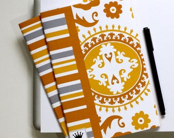 6 x 9 Paper Filled Journals, Two, Golden Suzani