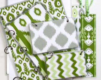 Three Ring Binder Gift Set, Green Ikat