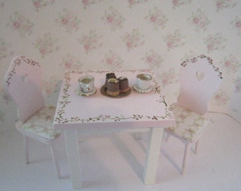 Dollhouse tearoom, table and chairs, tearoom table,  Miniature table dollhouse chairs, Pink tableTwelfth scale dollhouse miniature