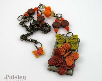 Red Orange Yellow Butterfly Trio Necklace, polymer clay pendant on antique finish brass chain, adjustable length, insect jewelry