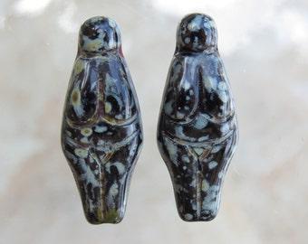 25x10mm Opaque Black Picasso Czech Glass Goddess Beads - Qty 4 (BS231)