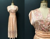 Vintage 70s peach floral bohemian wedding bridesmaid maxi dress medium