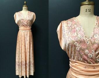 Vintage 70s peach floral bohemian wedding bridesmaid maxi dress medium