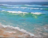 "Small Oil Seascape, Daily Painting, Small Oil Painting, Beach Scene, ""Favorite Beach"", 6x8"" Oil"