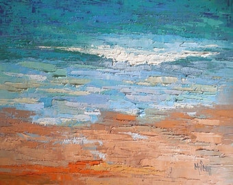 "Seascape Knife Painting, Beach Painting, Textured Oil Painting, ""Celebrating Blue"", 16x20 Seascape"