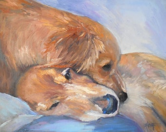 "Dog Painting, Golden Retriever Painting, 14x18 dog art, ""Puppy Love"" by Carol Schiff"