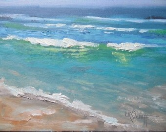 """Small Oil Seascape, Daily Painting, Small Oil Painting, Beach Scene, """"Favorite Beach"""", 6x8"""" Oil"""