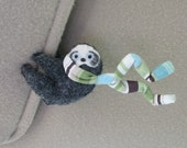 Sloth plush Car Visor cling on - stuffed animal with bendable legs and scarf -rain forest animal - green blue brown stripe scarf