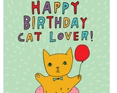 Birthday Card - Happy Birthday Cat Lover