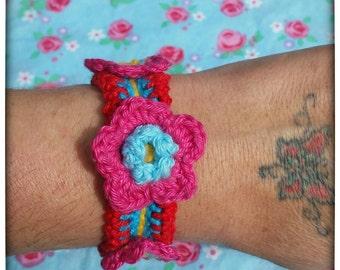 Flower crochet bracelet, crochet cuff, wide bracelet, boho, bohemian