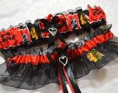 Handmade wedding garters keepsake and toss Wedding garters set CHICAGO BLACKHAWKS bridal set