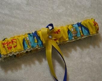 Handmade wedding garter toss The Simpsons Marge and Homer Simpson wedding garter Ivory Organza