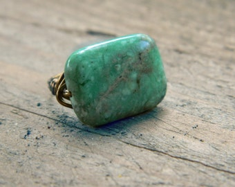 Green Jasper Ring, Jewelry Rings, Green Ring, Green Stone Wire Wrapped Gemstone Rings, Semi Precious Rings, Rustic Stone Rings, To Order
