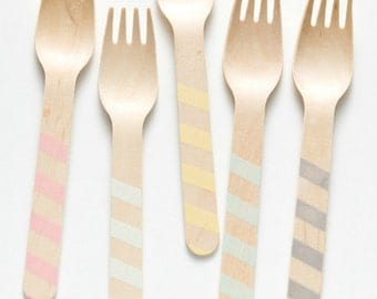 Vintage Stripes - Wooden Utensils -  Great Alternative To Plastic Utensils